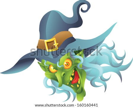 halloween witch head - stock photo