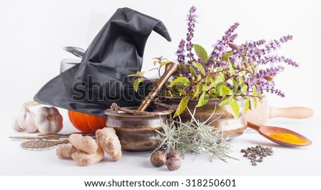 Halloween Witch Kitchen Utensils With Copper Boilers, Magical Symbols,  Spices, Fresh Herbs, Part 49