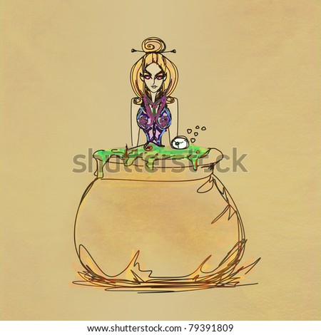 Halloween witch preparing potion - raster - stock photo
