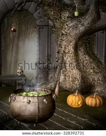 Halloween witch stuff - stock photo