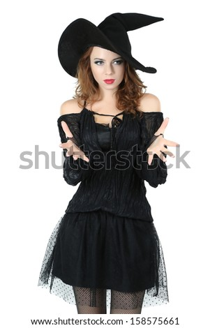 Halloween witch with broom isolated on white