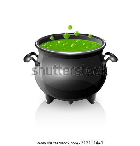 Halloween witches cauldron with green potion, illustration. - stock photo