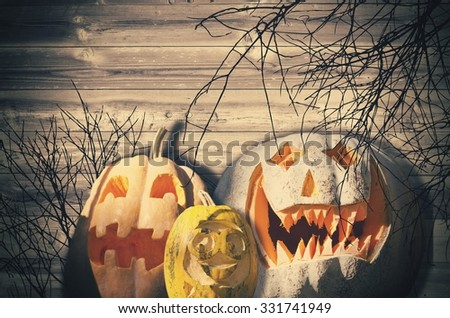 Halloween With Pumpkins Over Wooden Background - stock photo