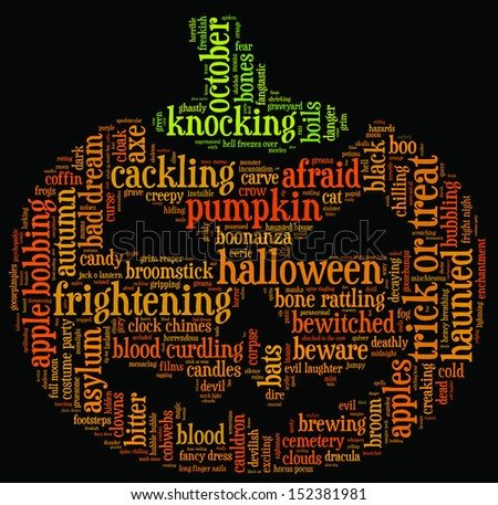 Halloween word cloud illustration in shape of a orange pumpkin on black background with words related to halloween - witch, trick or treat, candy, pumpkin, halloween, knocking and similar - stock photo