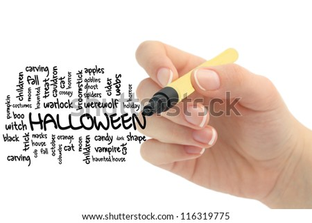 halloween word cloud on whiteboard