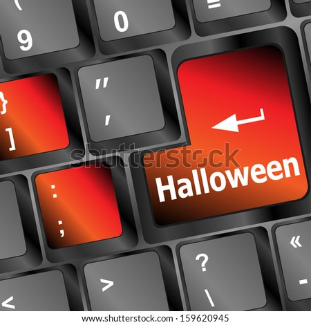 halloween word on button of the keyboard key, halloween holiday, raster
