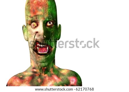 halloween zombie death and skin care 3d concept render - stock photo