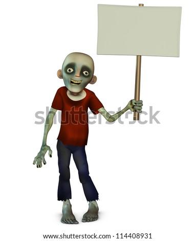 Halloween zombie holding placard - stock photo
