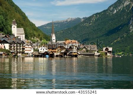 Hallstatt, a village in Salzkammergut, A UNESCO World Heritage Site, Austria, Europe - stock photo