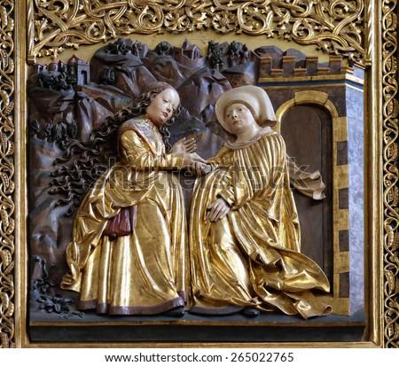 HALLSTATT, AUSTRIA - DECEMBER 13: Visitation of the Virgin Mary, Maria am Berg church on December 13, 2014 in Hallstatt, Austria. - stock photo