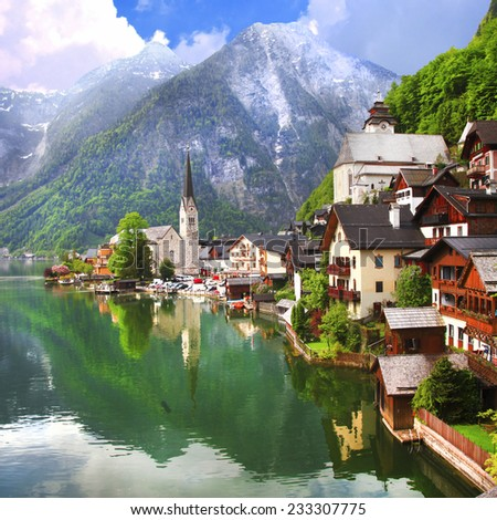 Hallstatt - beautiful mountain village on lake , Austria - stock photo