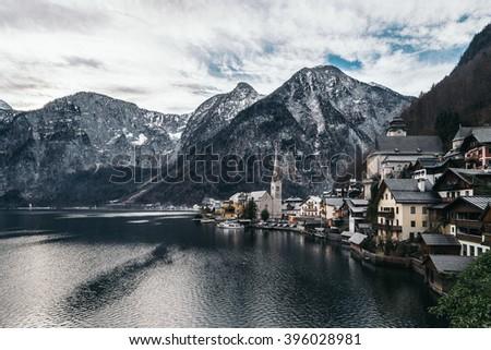 Hallstatt by Salzburg, Austria, traditional austrian wood village, UNESCO world culture heritage site - stock photo