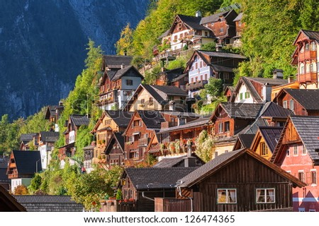 Hallstatt, Salzkammergut, Austria, UNESCO world nature and culture heritage site - stock photo