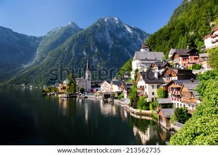 Hallstatt small historical city in Alps mountains Austria - stock photo