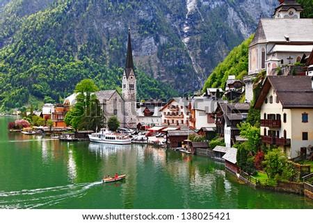 Hallstatt - small pretty pearl of Alps. Austria - stock photo