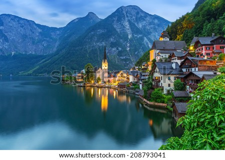 Hallstatt village in Alps at dusk, Austria - stock photo