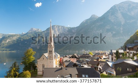 Hallstatt village in Austria on a beautiful day in autumn - stock photo