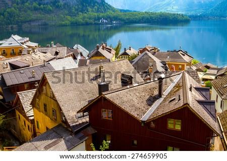 Hallstatt, village in the mountains in Austria - stock photo