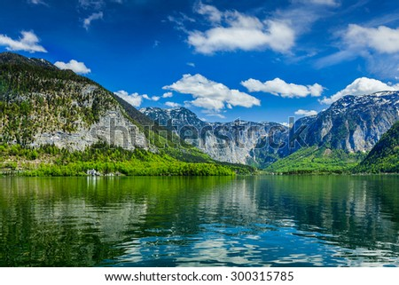 Hallstatter See mountain lake in Austria. Salzkammergut region, Austria - stock photo