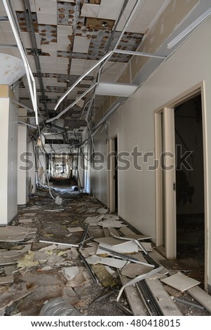 Hallway in Abandoned Office Building