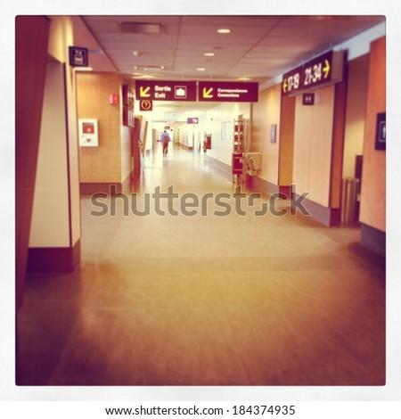 Hallway in airport - instagram effect - stock photo