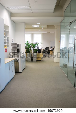 hallway in office - stock photo