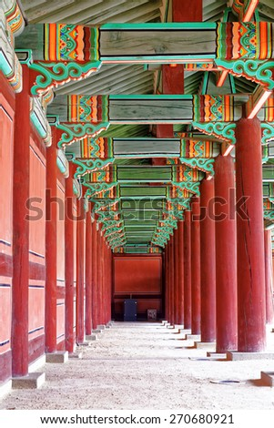 hallway in the korean ancient palace, seoul