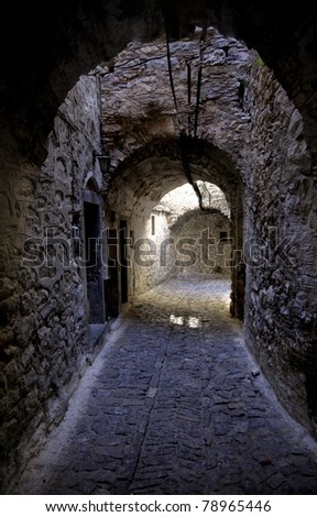 Hallway like passages of streets used for defense in the old cities in Chios, Greece