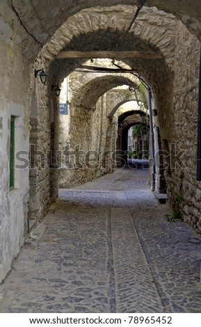 Hallway like passages of streets used for defense in the old cities in Chios, Greece - stock photo