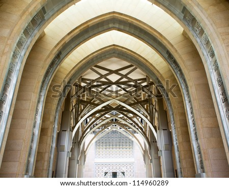 Hallway of a mosque - stock photo