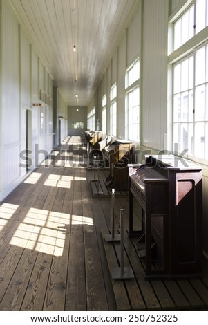 Hallway of an old primary school - stock photo