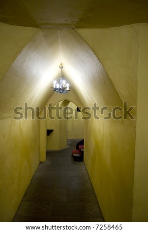 hallway of old renovated castle - stock photo