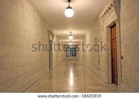Hallway to education - stock photo
