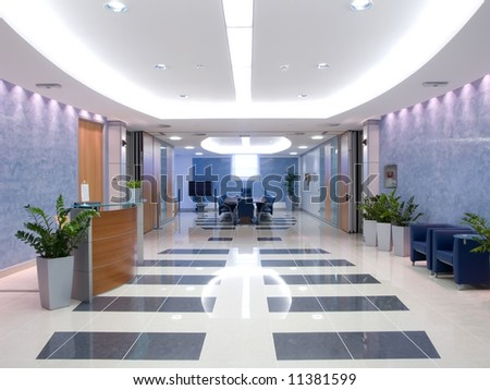 hallway with a view to a board room - stock photo