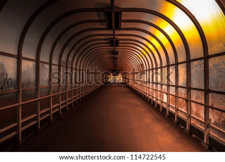 Hallway with bright light angle shot - stock photo