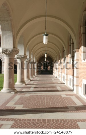 Hallway with classic columns at Rice University, Houston, Texas