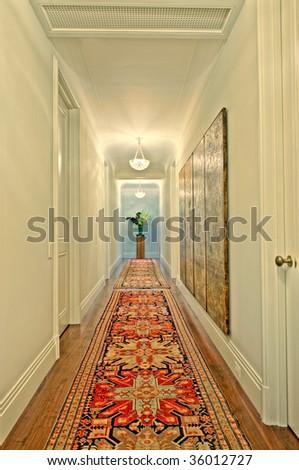 Hallway with Flower Vase - stock photo
