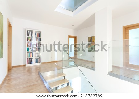 Hallway with white walls in modern house - stock photo
