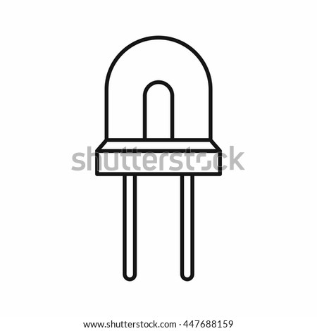 Halogen lamp icon in outline style isolated on white background - stock photo