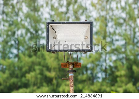 halogen lamp outdoor  - stock photo