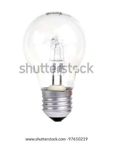 Halogen light bulb on a white background - stock photo