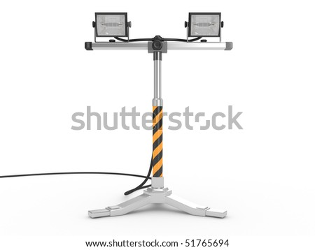 Halogen projector mounted on a stand isolated on white background - stock photo