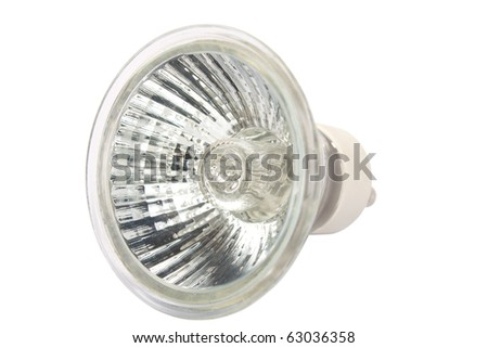 Halogen spot light bulb isolated on white background with clipping path - stock photo