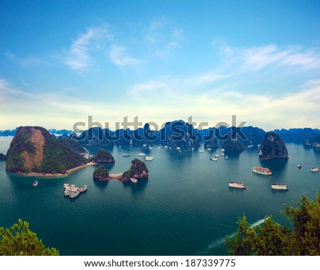 Halong Bay panorama in Vietnam.  - stock photo