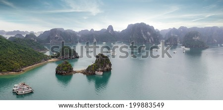 Halong Bay panorama, Vietnam, Hanoi. - stock photo