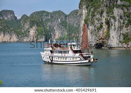 Halong Bay, Vietnam - June, 09: Tourist Junksin Halong Bay on June, 09, 2015. Halong Bay, Vietnam