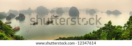 Halong Bay Vietnam Panorama - stock photo