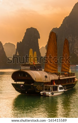 Halong Bay, Vietnam. Unesco World Heritage Site. Most popular place in Vietnam. - stock photo