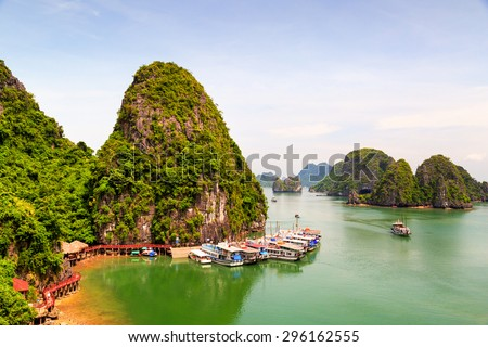 Halong, Quang Ninh, Vietnam - July 2, 2015: Train or tourists on Halong Bay. This is a very beautiful tourist destination and famous worldwide