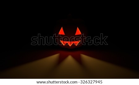 haloween pumpkin orange  light yellow smile horror in dark night 3D render - stock photo